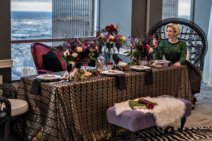 Halloween Tablescape at City Club LA designed by Anything But Gray with Floral Design by Winston & Main.