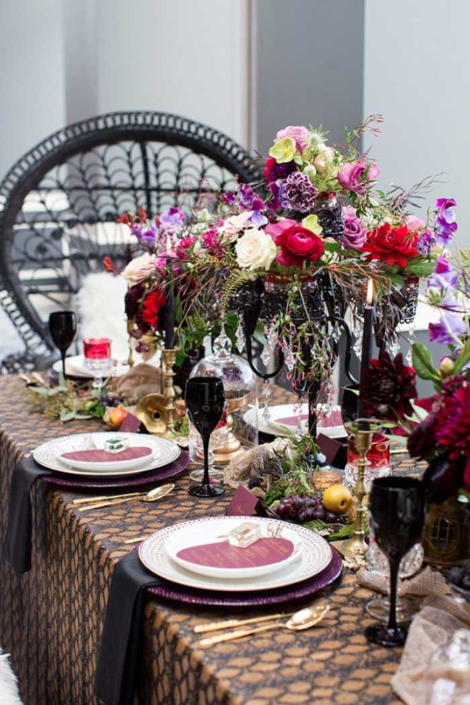 Beautifully witchy halloween tablescape.