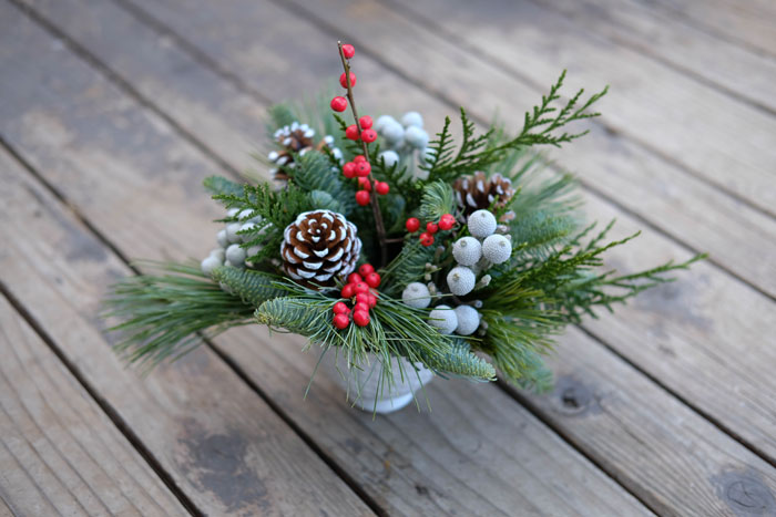 classic holiday floral arrangement