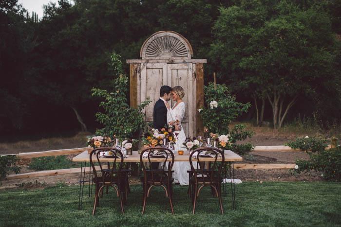 Fall tablescape with cute boho couple