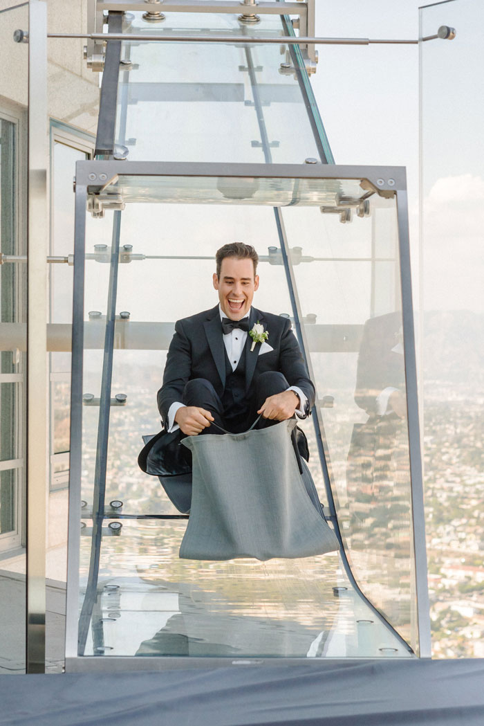 Groom riding slide at Oue Sky Space!