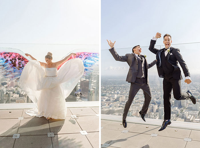 Fun wedding portraits at Oue Sky Space.