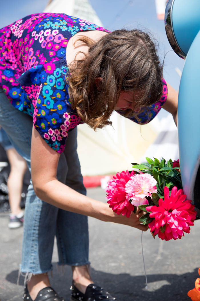 Tabitha Abercrombie of Winston & Main busy installing flowers on the Don Julio Tequila truck.