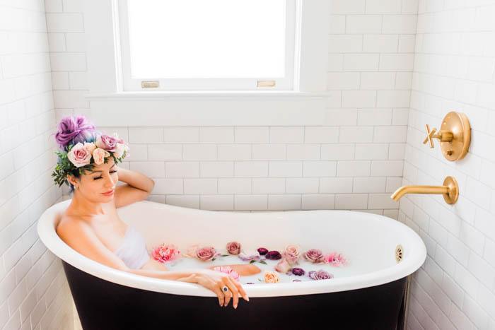Unicorn locks, a flower crown, and a flower filled bath tub!