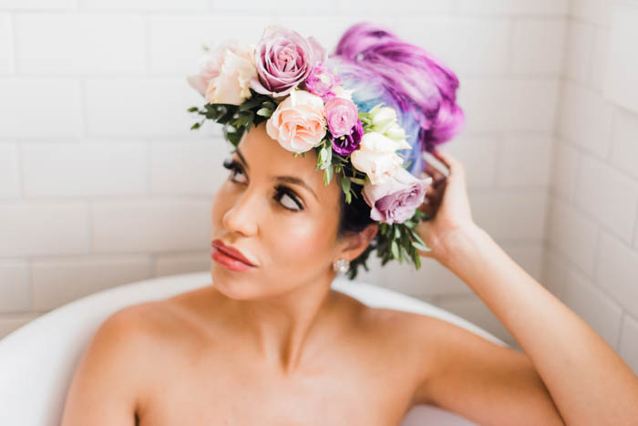 Lavender locks and a blush and lavender flower crown.