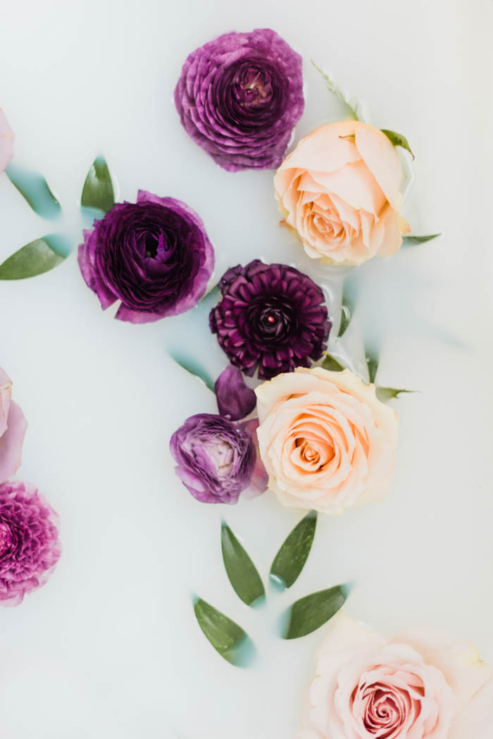 Purple ranunculus, peach roses, and italian ruscus milk bath photography