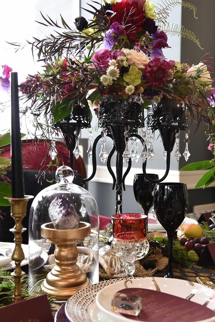 Black floral candelabra.