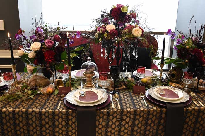 Dark and moody tablescape.