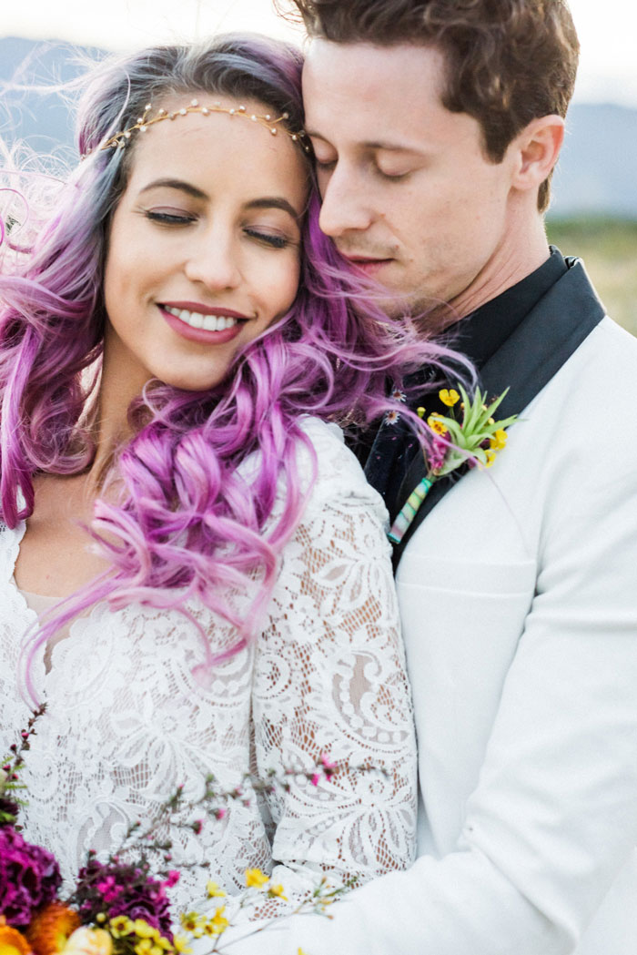 purple haired bride