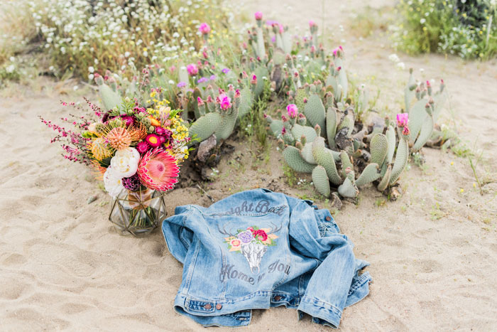desert bouquet and denim jacket