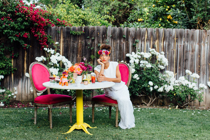 Bride at colorful sweetheart table!