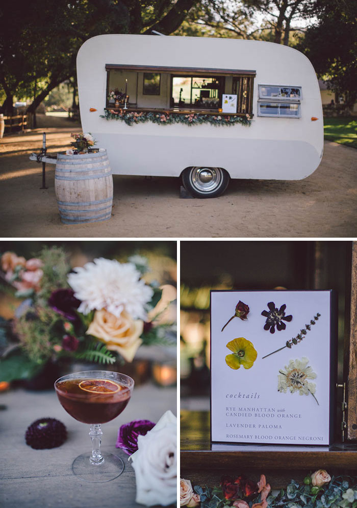 The Old Fashioned Caravan, fall cocktail inspiration, bar signage with pressed flowers