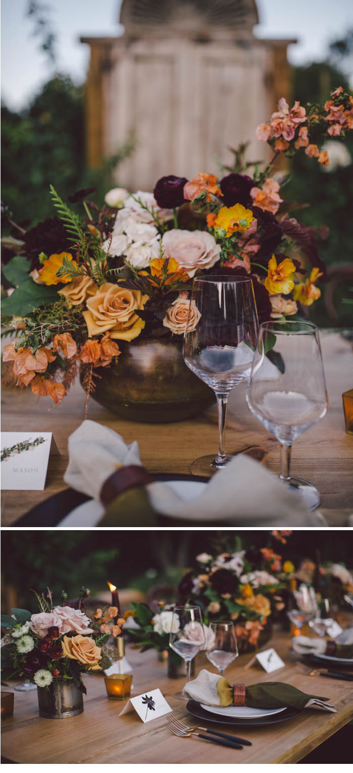 Fall floral centerpiece in rich shades of blush, apricot, berry, burgundy and gold
