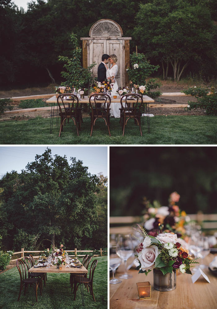 Fall Wedding Inspiration tablescape featuring blush, berry, burgundy and gold flowers
