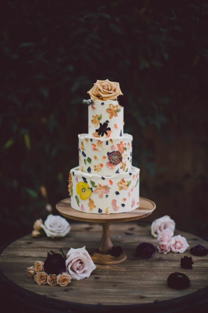 Wedding cake with real pressed flowers