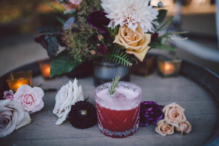 fall cocktail inspiration with fresh flowers and rosemary
