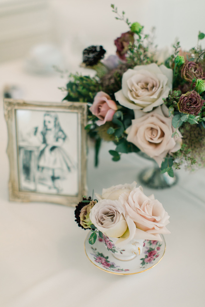 Whimsical blush and mauve floral centerpiece, Alice in Wonderland theme