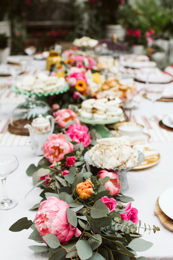 bright peony filled table garland tea party or wedding