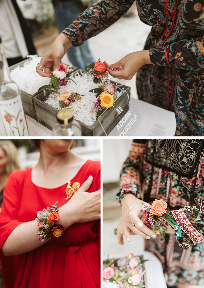 Modern Floral Jewelry, fresh flowers on brass cuffs for a modern wedding corsage