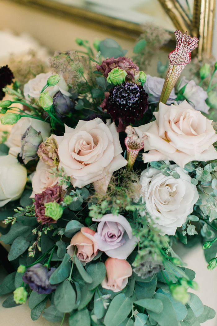 Mauve, blush, lavender, and burgundy centerpiece