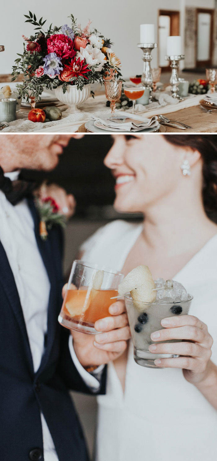 Lush floral design and beautiful craft cocktails for your wedding.