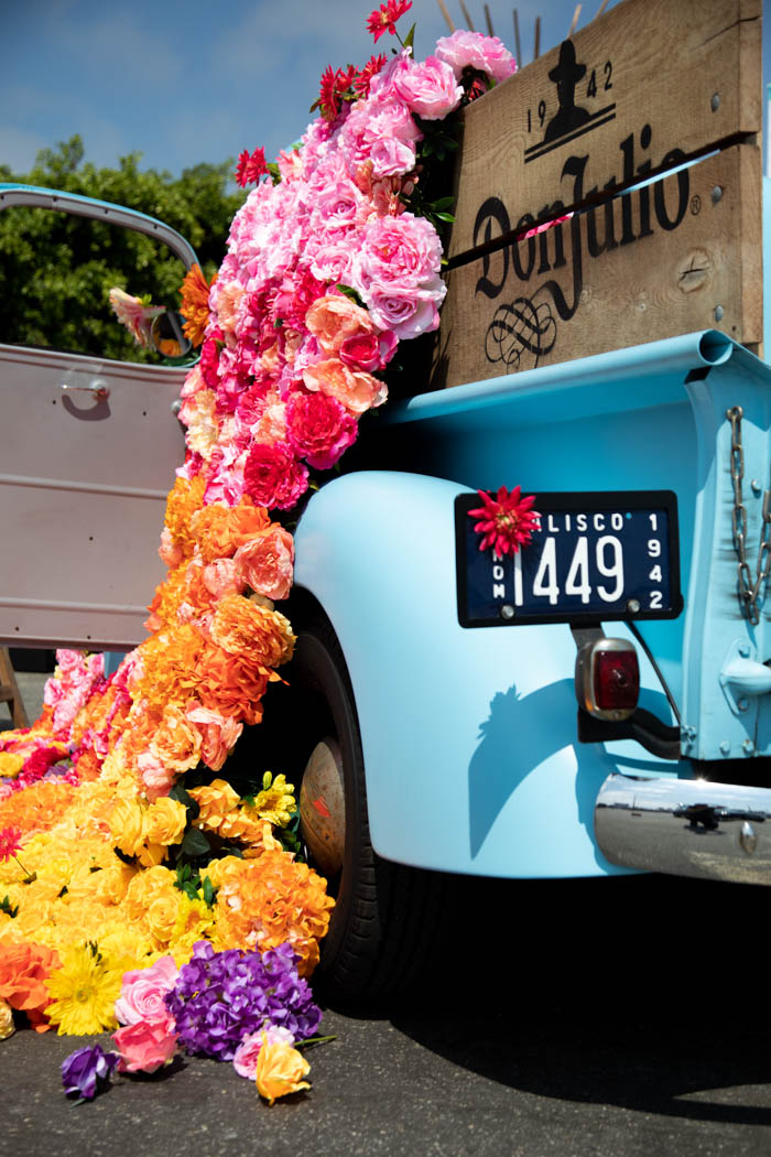 Floral installation and license plate flowers on the Don Julio Tequila truck.