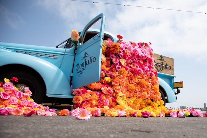 Colorful blanket of flowers spilling out of the Don Julio Tequila truck.