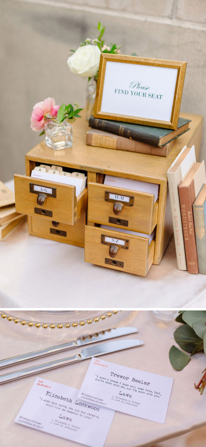 Library card catalog seating cards for romantic DTLA Library wedding.