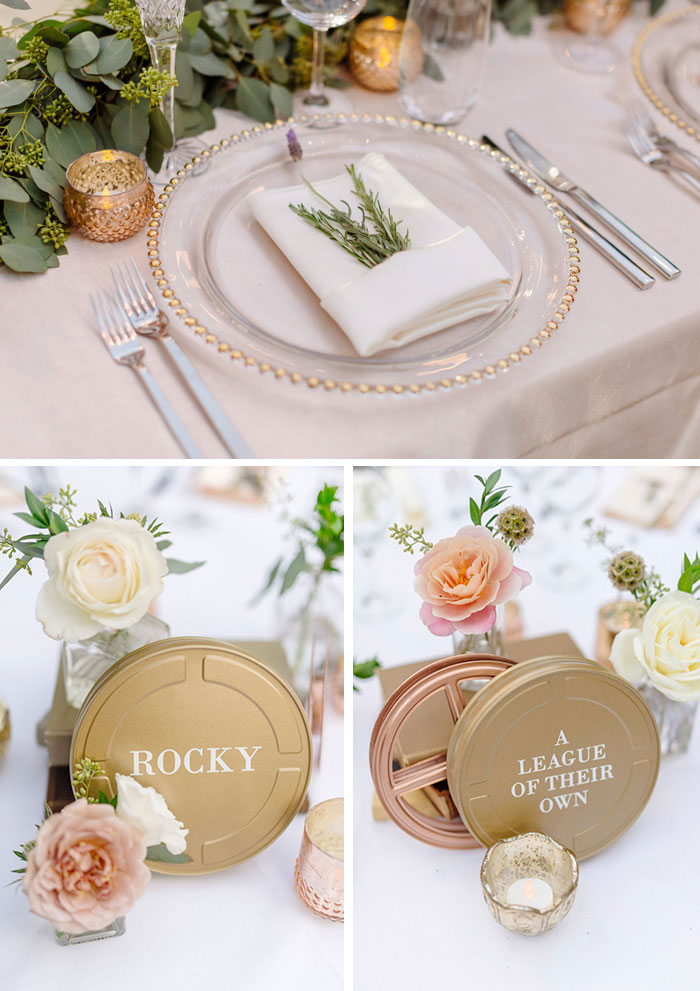 Tabletop details including fresh herb sprigs, garden roses, and film reel table names.