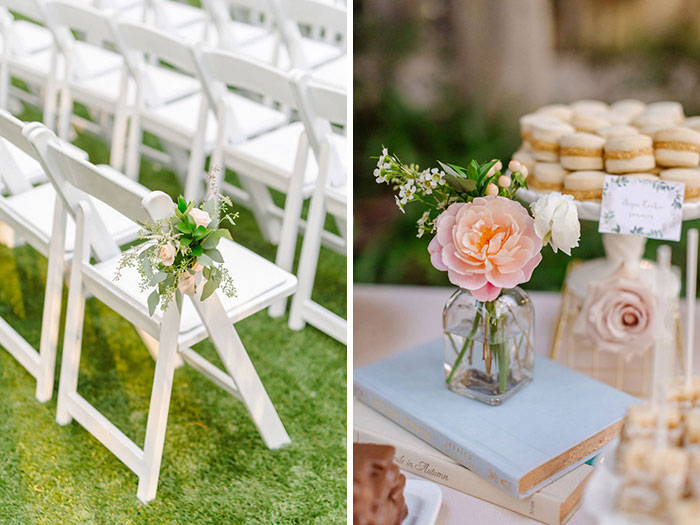 Cute aisle decor and bud vase details at a romantic DTLA Library wedding.