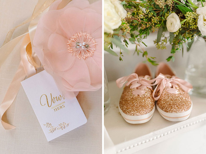Cute wedding details- vows, and sparkley tennis shoes.