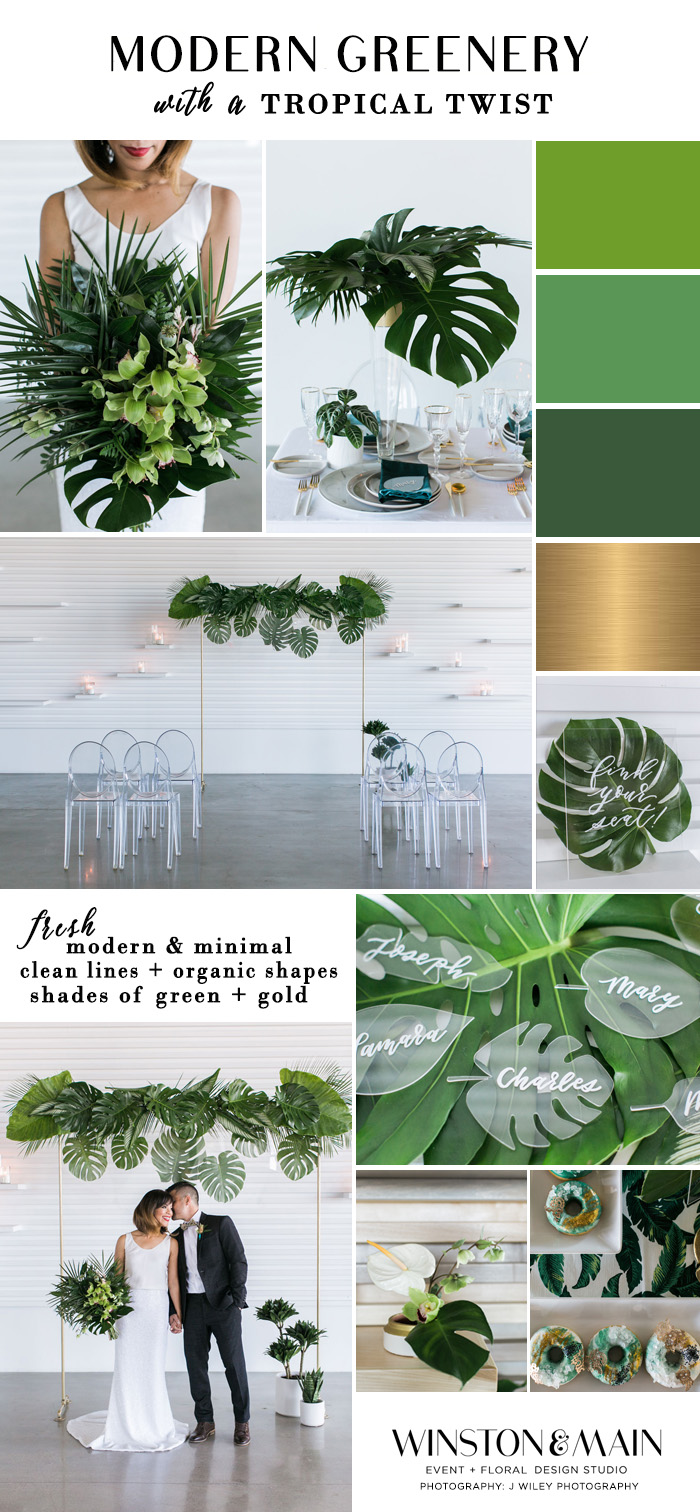 Tropical Wedding inspiration mood board featuring elevated centerpieces, acrylic details, and lots of large tropical leaves!