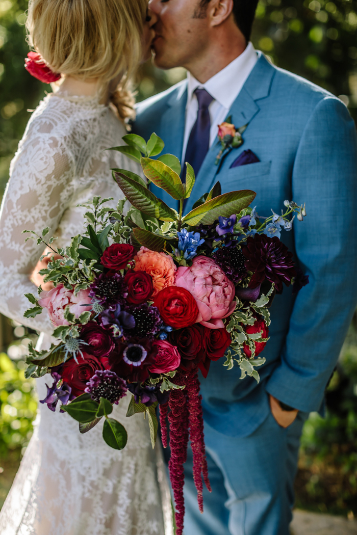 Our bride's jewel toned bridal bouquet by Los Angeles florist Winston and Main