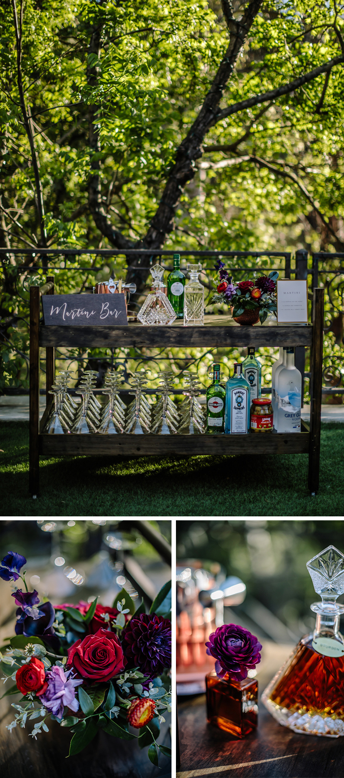 Wedding reception bar carts with jewel toned flower touches and arrangements by Winston and Main.