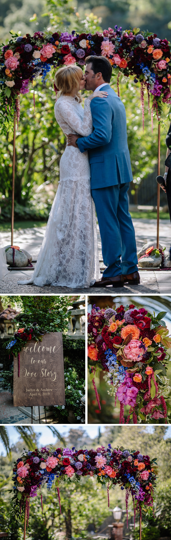 Ceremony details from our Houdini Estate wedding featuring a floral arch and welcome sign decor by Winston and Main.