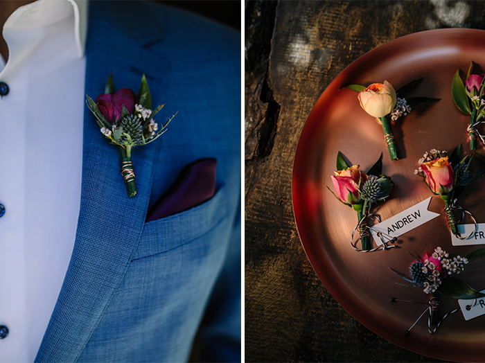 Jewel toned groomsmen boutonnieres by Los Angeles florist Winston and Main