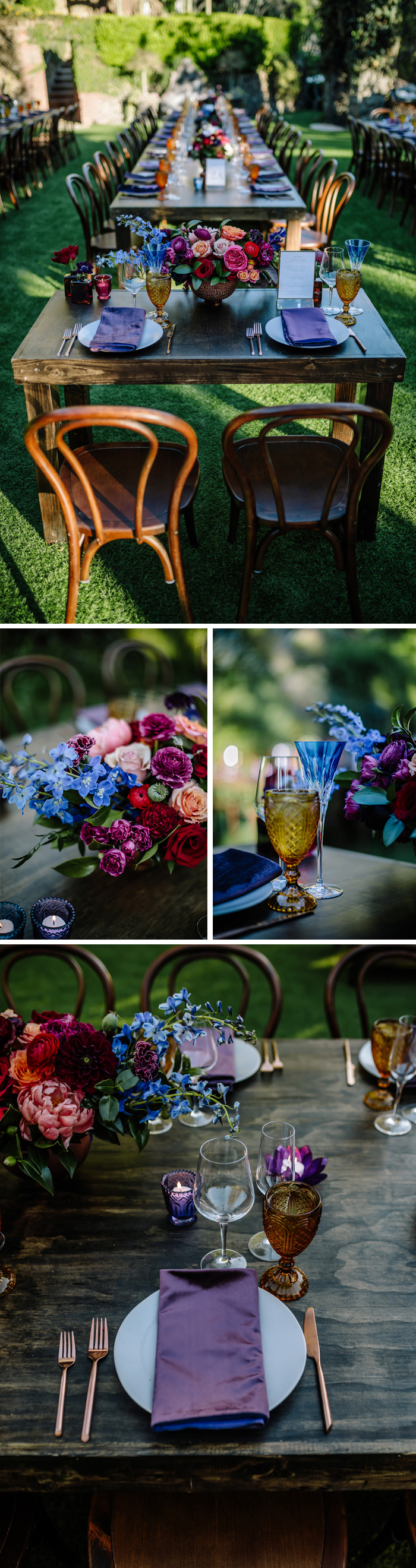 The Houdini Estate wedding dinner reception featuring moody florals and jewel toned dinnerware.