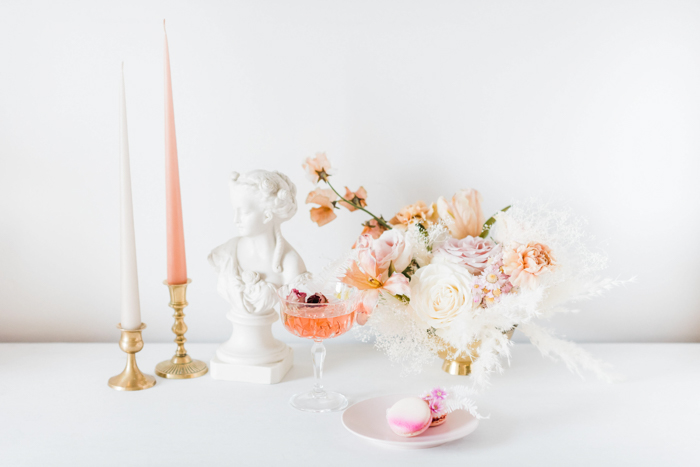 Elegant ethereal natural flower arrangement by Winston and Main for wedding inspiration