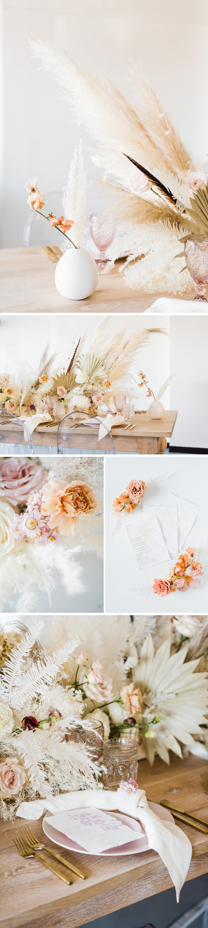 Pampas arrangements, muted flower colors, neutral table setting, and custom paper menus for wedding inspiration