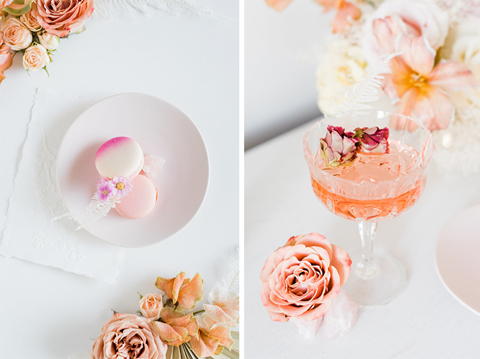 Craft cocktail and dessert macaroons garnished with dry buds and flowers for ethereal wedding inspiration