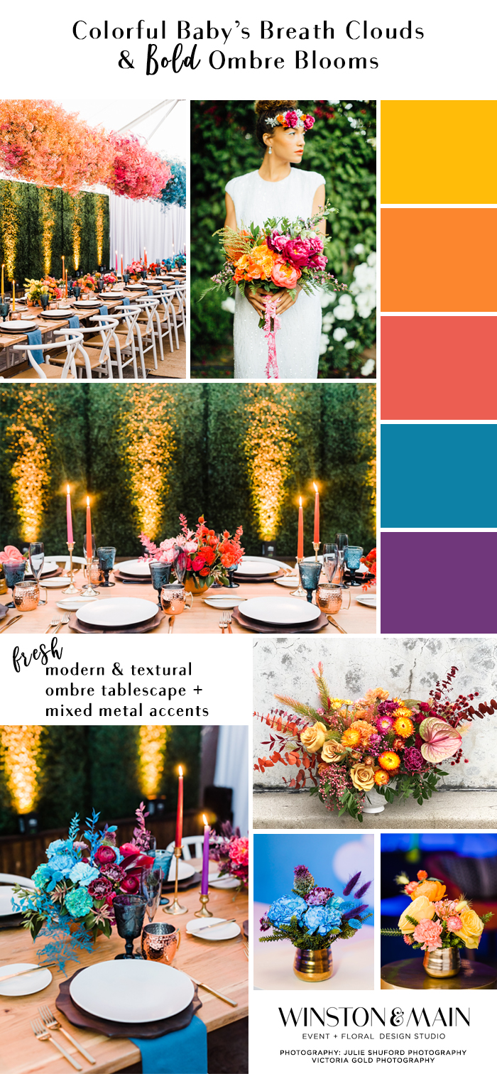 A bold, modern, and colorful mood board for your wedding, birthday or celebration featuring bold baby's breath clouds.