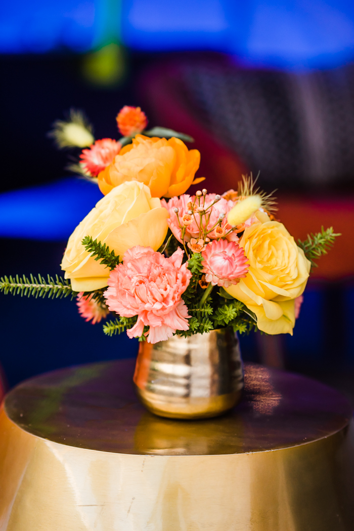 Bold yellow and orange cocktail arrangement by Winston & Main