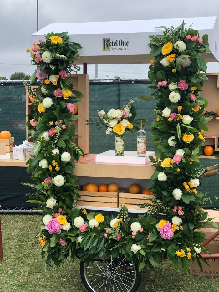 Foam free floral installation for Ketel One Botanical.