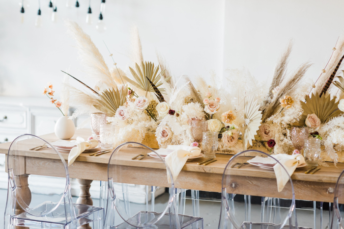 Large scale foam free neutral centerpiece featuring dried and fresh florals.