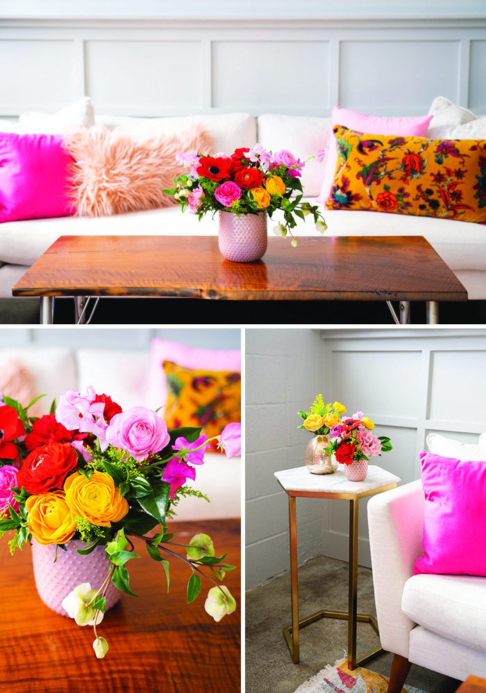 A colorful lounge set up featuring bold blooms by Winston & Main.