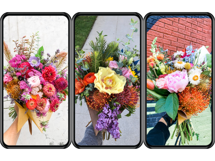 Iphone images of bouquets created by Tabitha Abercrombie of Winston & Main during 2020.