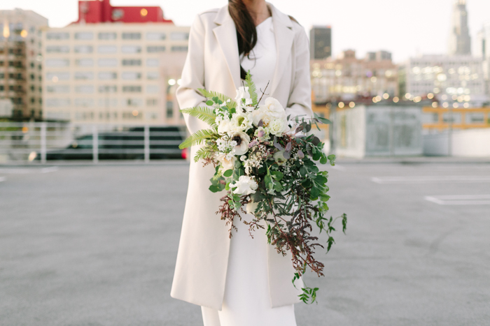 A modern cascade bouquet, created by Tabitha Abercrombie of Winston & Main in a workshop taught by Amy Nicole.