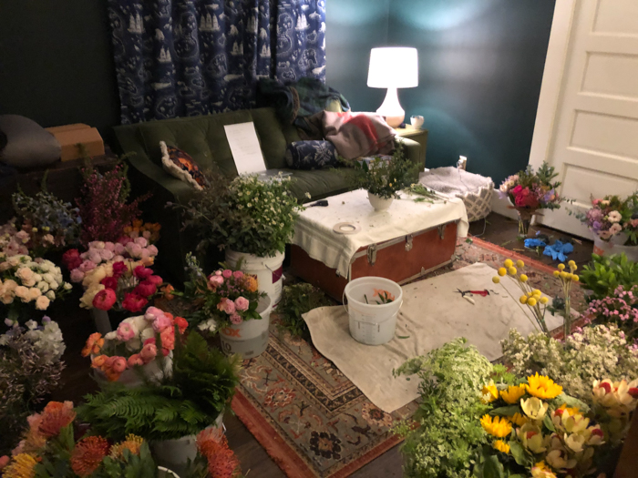 Tabitha Abercrombie created a makeshift floral studio in her living room during the pandemic by keeping the lights low and the AC cranking.