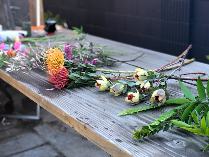 Creating flower arrangements in my backyard during the pandemic.