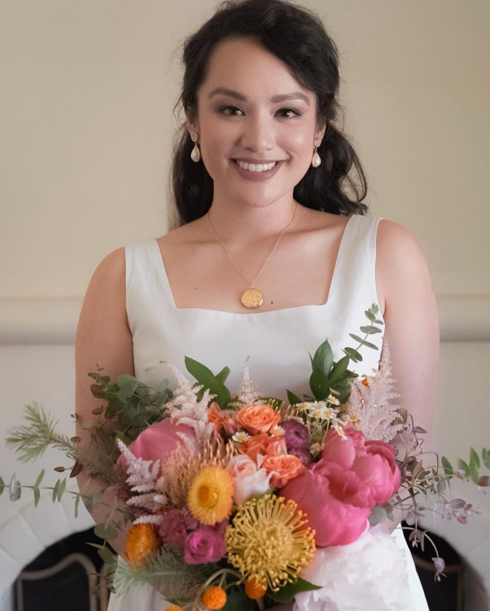 Getting married at home never looked so good- a bright bouquet from Winston & Main, beautiful photography by Faye Casaje.
